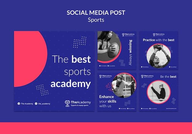 Modelo de postagem em mídia social de esportes