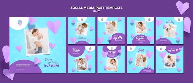 Modelo de postagem em mídia social de foto de bebê