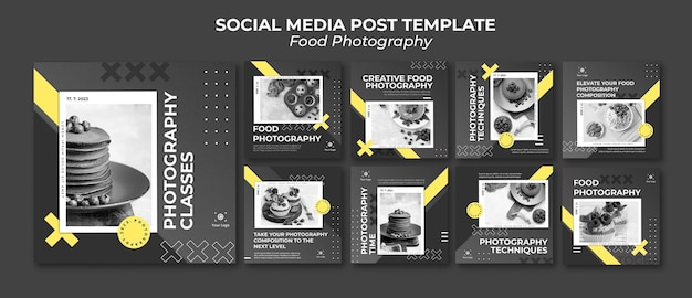 Modelo de postagem em mídia social de fotografia de comida