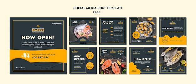 Modelo de postagem em mídia social de frutos do mar frescos