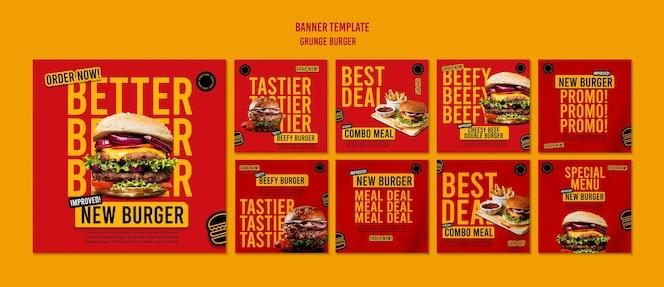 Modelo de postagem em mídia social de hambúrguer grunge