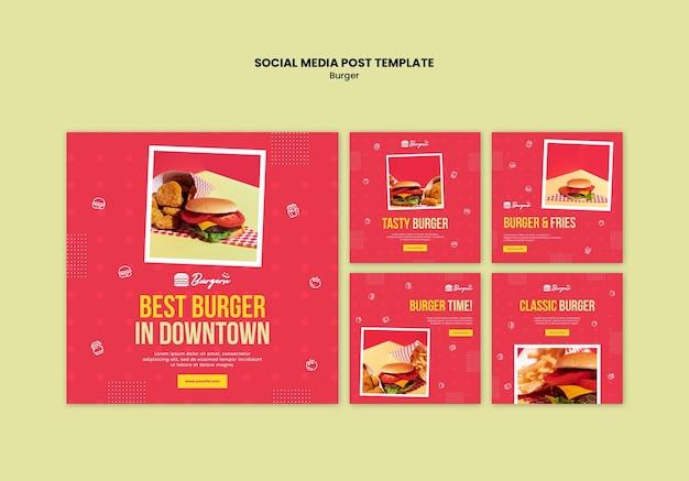 Modelo de postagem em mídia social de hambúrguer