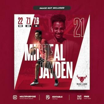 Modelo de postagem em mídia social de jogador de basquete