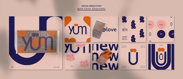 Modelo de postagem em mídia social de loja de chocolates