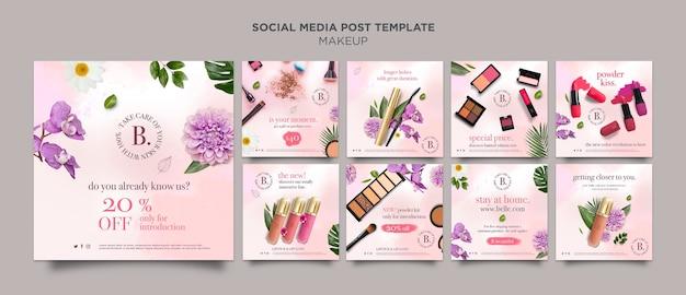 Modelo de postagem em mídia social de maquiagem