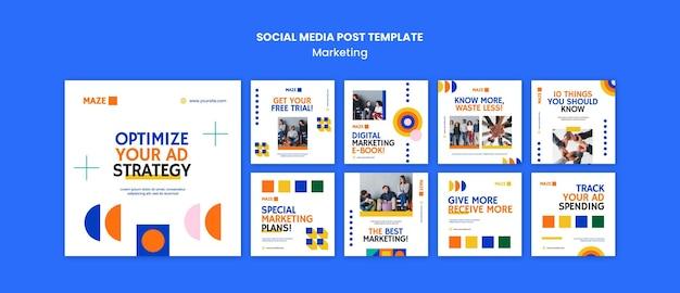 Modelo de postagem em mídia social de marketing