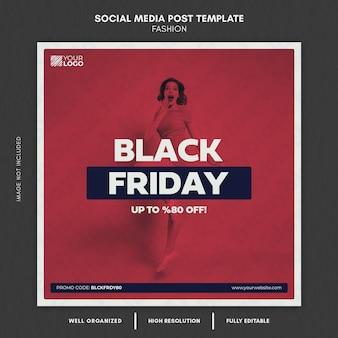 Modelo de postagem em mídia social de moda black friday