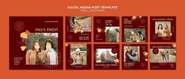 Modelo de postagem em mídia social de moda outono