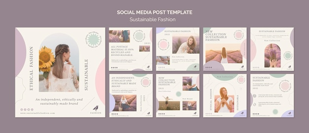 Modelo de postagem em mídia social de moda sustentável