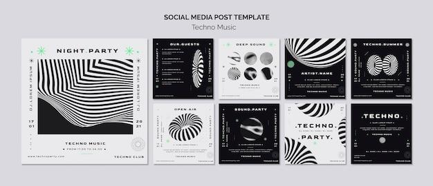 Modelo de postagem em mídia social de música techno