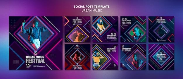 Modelo de postagem em mídia social de música urbana