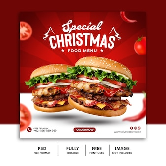 Modelo de postagem em mídia social de natal para cardápio de restaurante