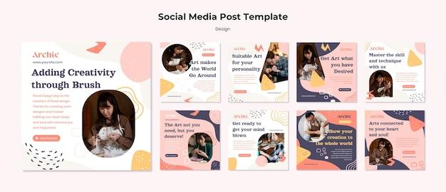 Modelo de postagem em mídia social de oficina de arte
