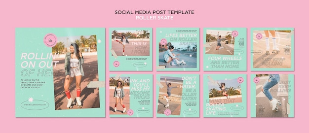 Modelo de postagem em mídia social de patins