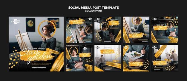 Modelo de postagem em mídia social de pintura dourada