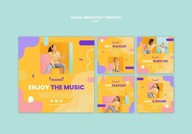 Modelo de postagem em mídia social de plataforma musical