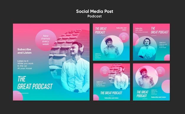 Modelo de postagem em mídia social de podcast de rádio