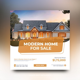 Modelo de postagem em mídia social de promoção de venda de imóveis