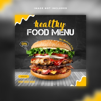 Modelo de postagem em mídia social de restaurante de comida saudável