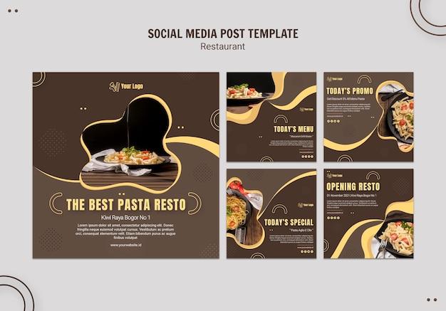 Modelo de postagem em mídia social de restaurante de massas