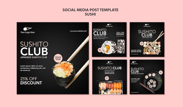 Modelo de postagem em mídia social de restaurante de sushi