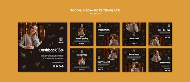 Modelo de postagem em mídia social de restaurante