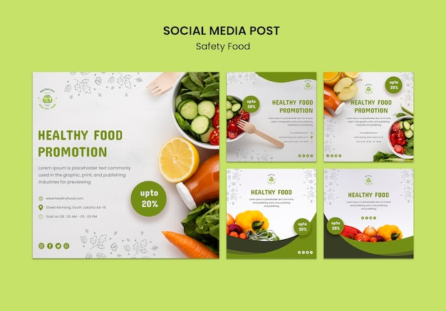Modelo de postagem em mídia social de segurança alimentar
