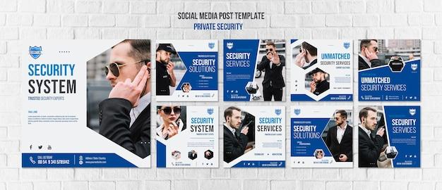 Modelo de postagem em mídia social de serviços de segurança