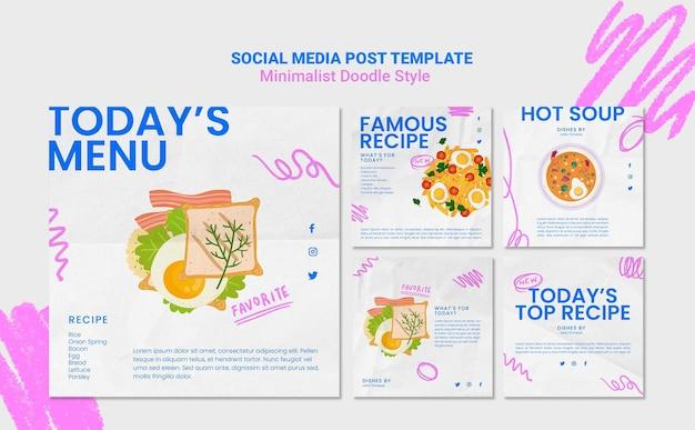 Modelo de postagem em mídia social de site de receitas