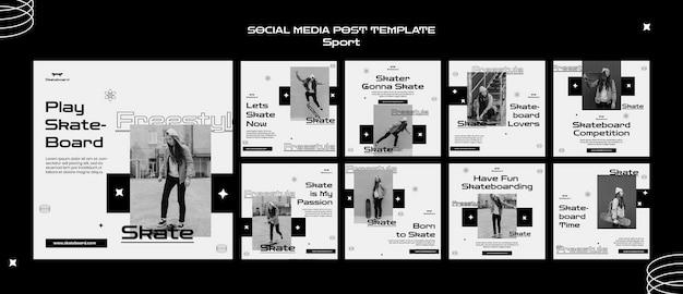Modelo de postagem em mídia social de skate