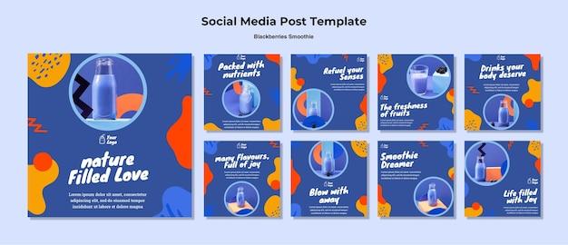 Modelo de postagem em mídia social de smoothie de amoras