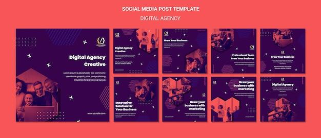 Modelo de postagem em mídia social de soluções de agência digital