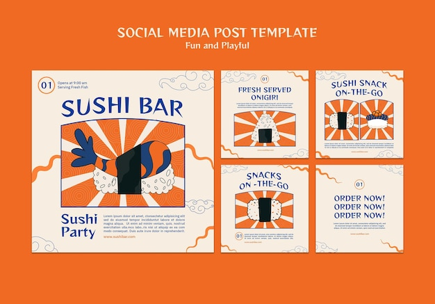 Modelo de postagem em mídia social de sushi bar