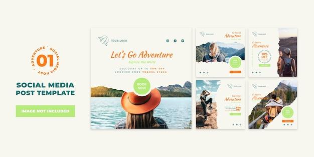 Modelo de postagem em mídia social de venda de aventura