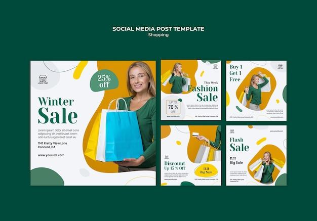 Modelo de postagem em mídia social de venda de compras