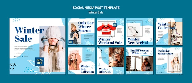 Modelo de postagem em mídia social de venda de inverno