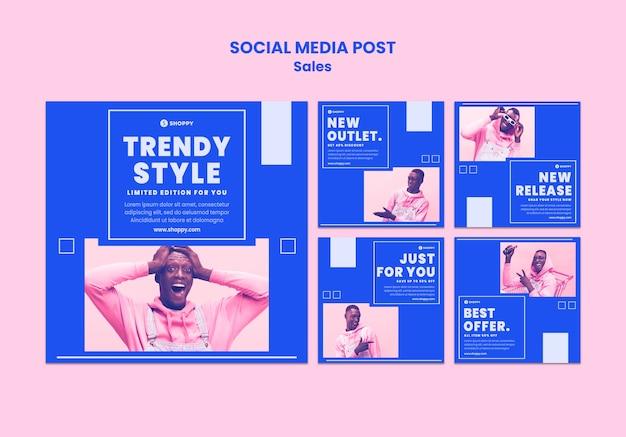 Modelo de postagem em mídia social de venda de saída