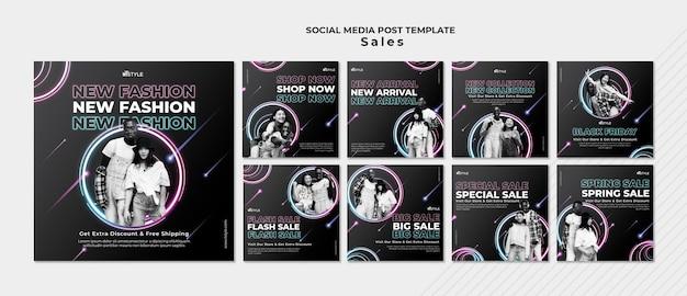Modelo de postagem em mídia social de vendas de moda