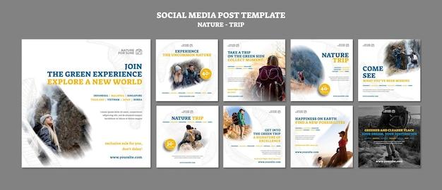 Modelo de postagem em mídia social de viagem na natureza