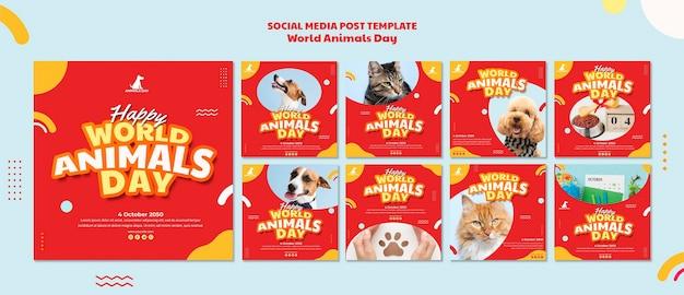 Modelo de postagem em mídia social do dia mundial dos animais