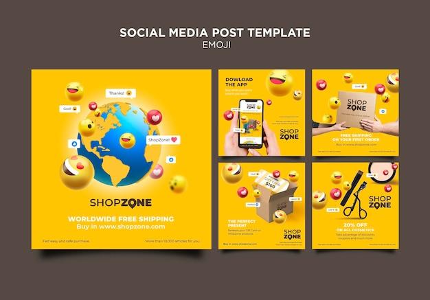 Modelo de postagem em mídia social emoji