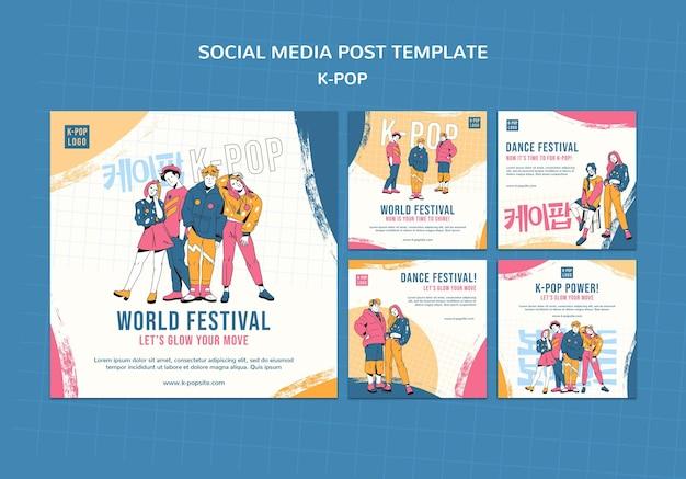 Modelo de postagem em mídia social k-pop