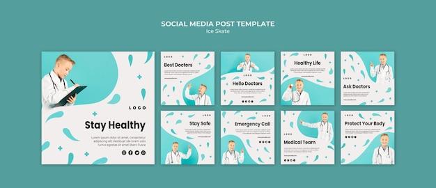 Modelo de postagem em mídia social médica