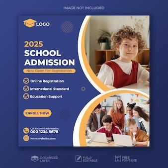 Modelo de postagem em mídia social para admissão em escola de educação