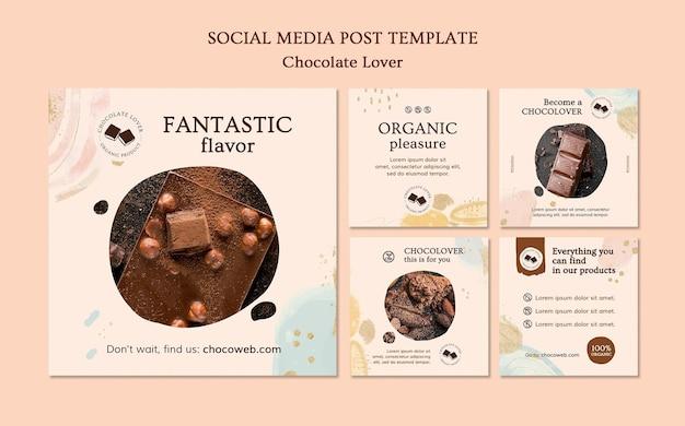 Modelo de postagem em mídia social para amante de chocolate