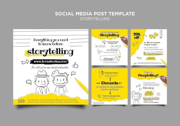 Modelo de postagem em mídia social para contar histórias