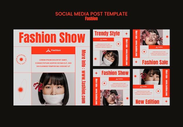 Modelo de postagem em mídia social para desfile de moda