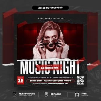 Modelo de postagem em mídia social para festa noturna de música com estilo papel rasgado