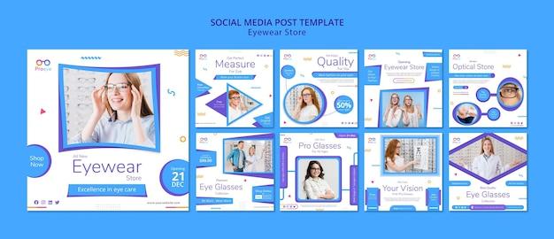Modelo de postagem em mídia social para loja de óculos