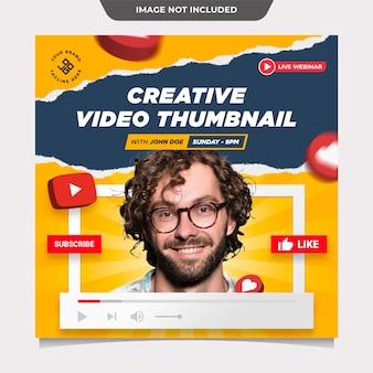 Modelo de postagem em mídia social para miniaturas de vídeo criativo
